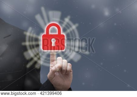 Businessman Touching Closed Security Lock On Digital Technology Background. Business, Cyber Security