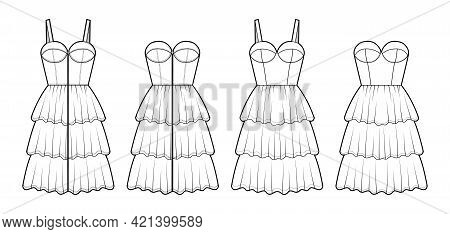 Set Of Dresses Zip-up Bustier Technical Fashion Illustration With Sleeveless, Strapless, Fitted Body