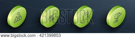 Set Isometric Line Couple In Love, Healed Broken Heart, Music Note, Tone With Hearts And Romantic Ho