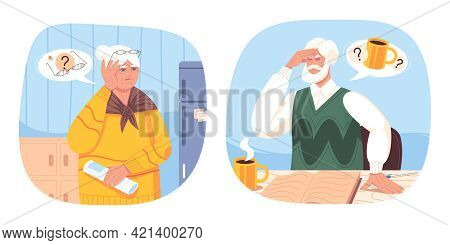 Old Woman And Senior Man Suffer From Dementia, Alzheimer Disease, Forgetfulness. Elderlies With Trou