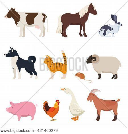 Set Of Farm Animals. Cattle, Poultry, Etc. Livestock