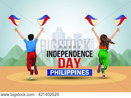 Happy Independence Day Philippines 12th June. A Boy And Girl Running With Philippine Flag. Vector Il