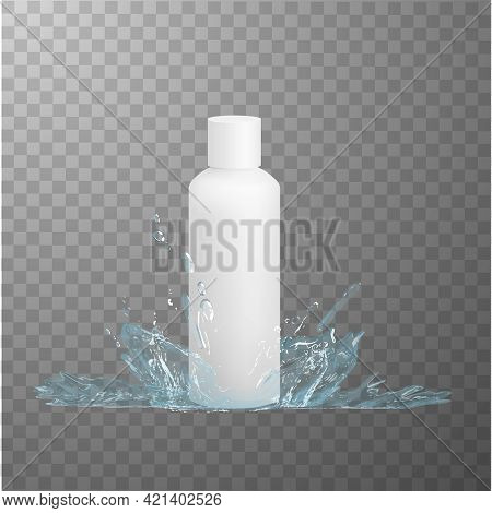 White Plastic Hdpe Bottle Mockup And Water Splash Effect. Vector Eps10