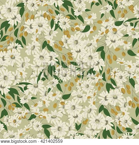 Cosmos Flower And Olives Illustration Motif Seamless Repeat Pattern Retro Light Green And White Back