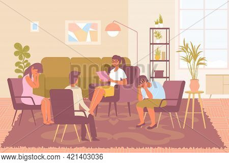 Young Female Psychologist And Three Frustrated People During Group Psychotherapy Session At Cozy Off