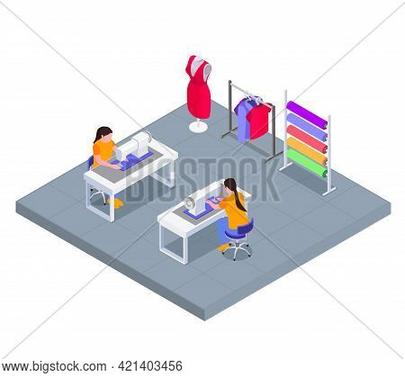 Textile Mill Workplace Isometric Concept With Seamstress Female Characters Working At Sewing Machine