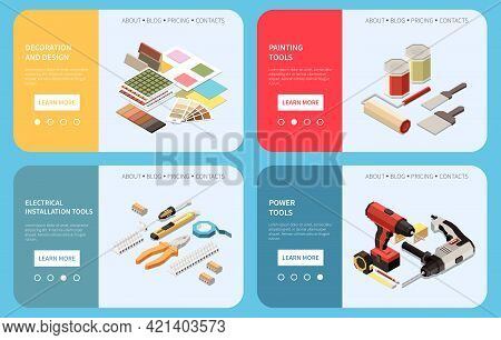 House Renovation Diy Colorful Isometric Banners With 3d Design Painting Electrical And Power Tools I