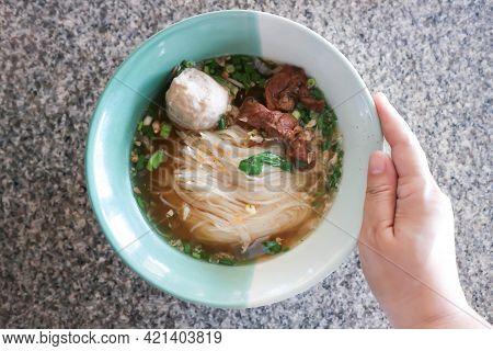 Noodles, beef noodles for serve or serving noodles