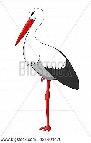 Stork Standing On One Leg. Simple Vector Llustration Isolated On White Background. Flat Design.