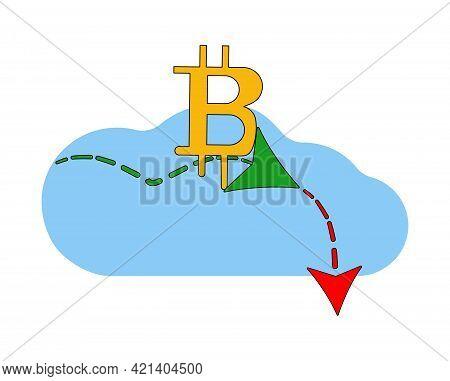 Energy Consumption Design. Bitcoin Concept. Bitcoin Cloud Technology. Virtual Money. Bitcoin Stock G