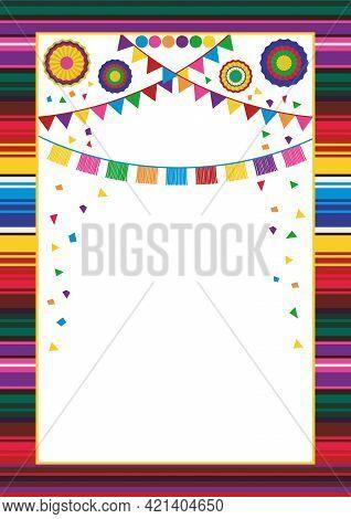 Mexican Style Frame Design Template. Striped Serape Design, Paper Garlands, Confetti, Pompoms And Fa