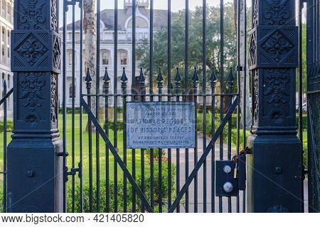 New Orleans, La - September 2: Weather Worn National Register Of Historic Places Sign And Front Iron