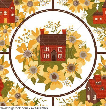 Small Countryside City Seamless Pattern With Small Houses, Huge Flowers And Roads. Map Of The Settle