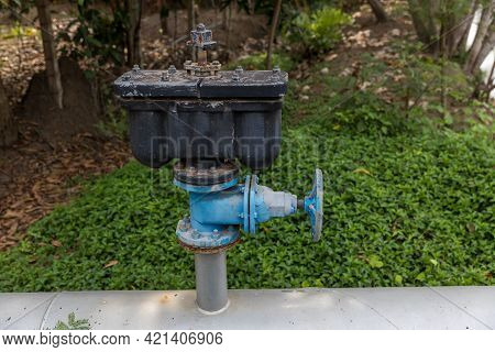 Water Valve. Main City Water Supply Pipeline. A Big Water Supply Main Pipeline.