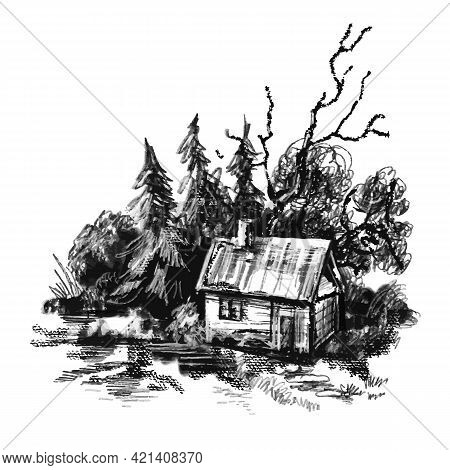 A Vector Image Of A Village House. The Village Landscape. Vintage Illustration. House In The Field N