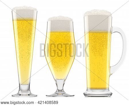 Set Of Fresh Beer In Different Mugs With Bubble Froth Isolated On A White Background. 3d Rendering C