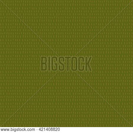 Green Grass, Herb Seamless Pattern. Doodle Hatch Repeat Background. Abstract Simple Grass Texture. S