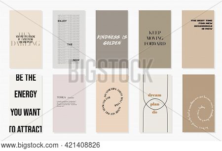 Design backgrounds for social media banner.Set of quotes for instagram stories or post.Vector cover. Mockup for personal blog or shop.Layout for promotion.Endless square puzzle.