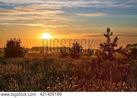 Summer Landscape With Flower Meadow And Majestic Clouds In The Sky On Sunrise. Summer Morning.