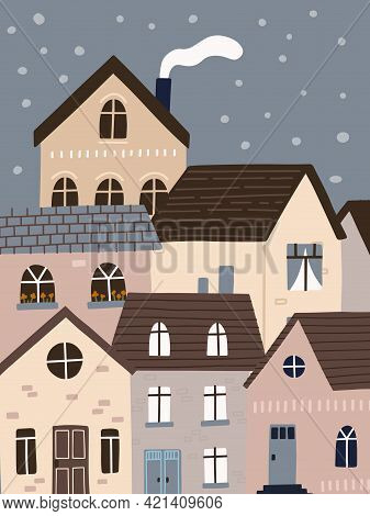 Rooftop View, Townscape With Cute Houses At Night. City Concept.