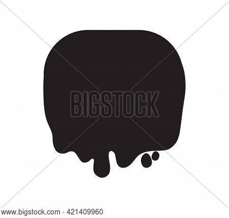 Abstract Slime Shape. Geometric Slimed Object On Isolated Background. Black And White Illustration
