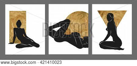Gold And Black Women Wall Art Vector Set. Boho Silhouette Art Drawing With Abstract Shape. Abstract