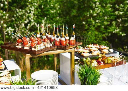 Buffet In The Open Air - Table With Canapes On Cocktail Sticks Against The Background Of Flowering T