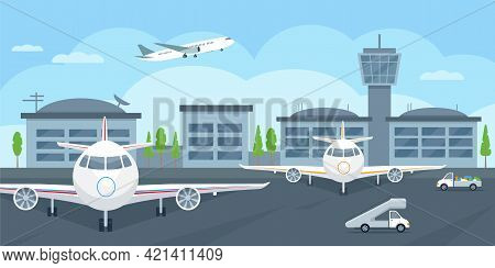 Airport Terminal Building With Aircraft Taking Off, Airplanes And Cars.