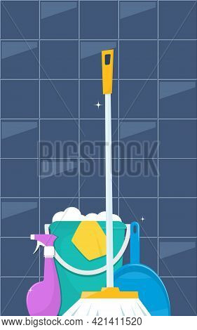 Tools For Cleaning And Housework. Floor Sweeping Brush, Dustpan, Bucket Of Water And Soap Suds. Cute