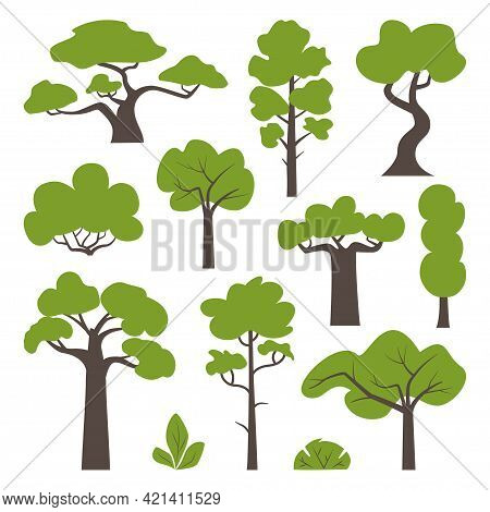 Big Set Of Various Green Trees And Bushes. Tree Icons Set In A Modern Flat Style. Vector Illustratio