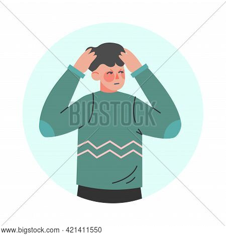 Young Man Making Negative Hand Gesture Frowning And Holding His Head In Circular Frame Vector Illust