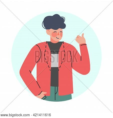 Happy Male Showing Thumb Up Making Positive Hand Gesture In Circular Frame Vector Illustration