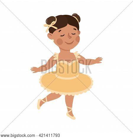 Cheerful Girl Wearing Tutu Skirt Depicting Ballerina Profession Vector Illustration