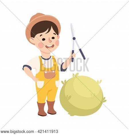 Little Boy With Pruner Cutting Bush Representing Gardener Or Farmer Profession Vector Illustration