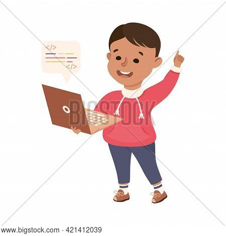 Little Boy With Laptop Representing Software Specialist Or Coder Profession Vector Illustration