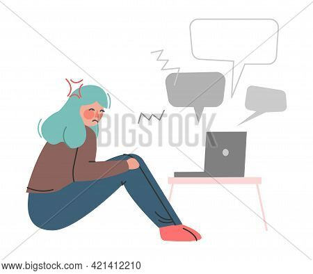 Frustrated Girl With Insulting Chat Message, Cyberbullying, Social Media Harassment, Trolling Cartoo
