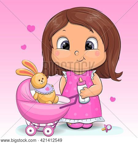 Cute Cartoon Girl With Toy, Pram Stroller, Milk Bottle, Babies Dummy. Vector Illustration Of Child W