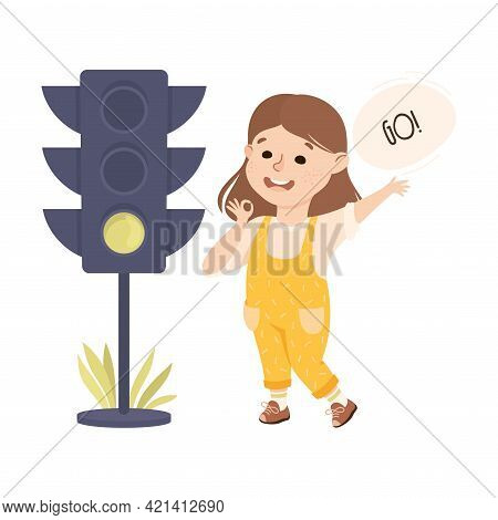Little Girl Pedestrian Learning Road Sign And Traffic Rule Vector Illustration