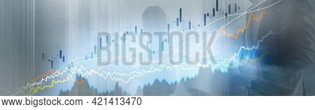 Business Finance Growth Graph Chart Analysing Diagram Trading And Forex Exchange Concept Double Expo