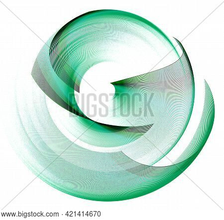Green Airy Striped Arcuate Elements Are Layered And Rotated Against A White Background. Graphic Desi