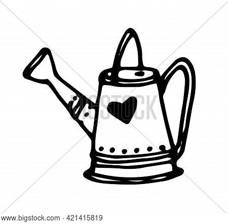 Vector Illustration Of A Watering Can. Hand-drawn Doodle-style Garden Watering Can Tool, With A Spou