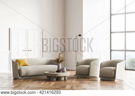 Living Room Design Interior. Modern Stylish Home Area. Oak Parquet Floor Panoramic Window. Armchairs