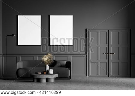 Living Room Design Interior. Modern Stylish Home Area. Two Framed Mock Up Posters On White Wall. Con