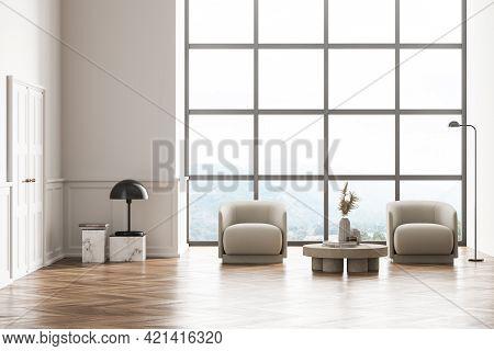 Living Room Design Interior. Modern Stylish Home Area. Oak Parquet Floor. Armchairs Near Panoramic W