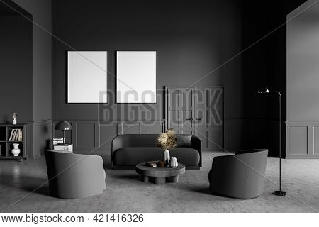 Grey Living Room Design Interior. Modern Stylish Home Area. Two Framed Mock Up Posters On White Wall