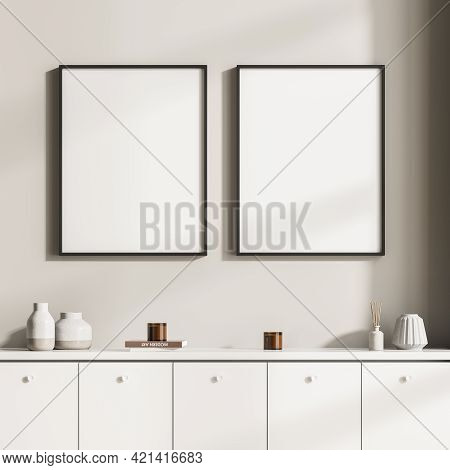 Modern Design Home Interior Of Living Room With Commode. Mock Up Frame Two Posters For Painting On T
