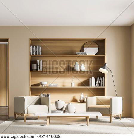 Light Living Room Interior With Two Seats, Bookshelf With Books And Decoration. Minimalist Art Readi