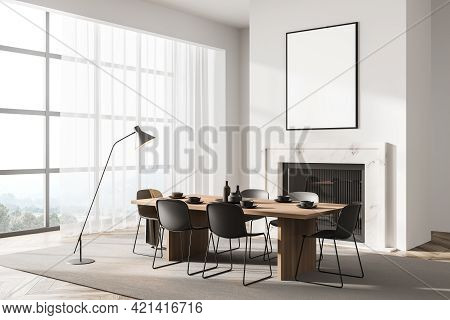 Stylish Designed Modern Interior Of Dining Room With Fire Pace, Table And Six Black Chairs. Minimali