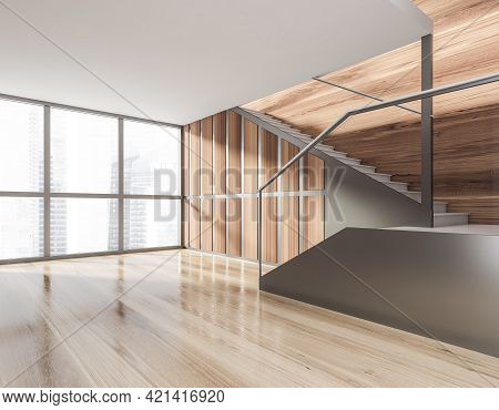 Minimalistic Modern Hall Interior With Stairs. Wooden Parquet Floor. Concrete Stairs. Panoramic Wind