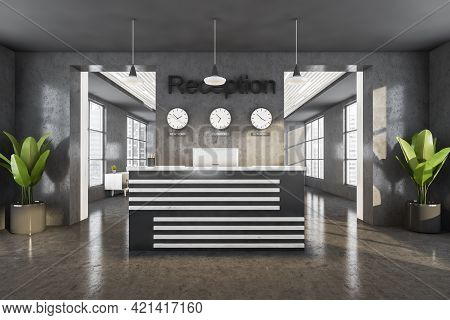 Grey Reception Room Interior With Computer, Clocks On The Wall. Reception Entrance With Office Desk,